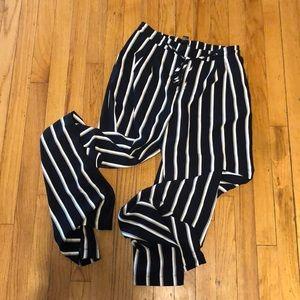 Pinstripe flare slacks w/ tie